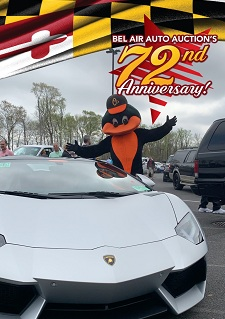 The Baltimore Orioles' Mascot was on hand to greet buyers, sellers and special guests, as they gathered to marked Bel Air Auto Auction's 72 years of service to the industry.