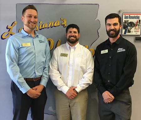 Lousiana's 1st Choice Auto Auction now has three CAR-certified employees: (left to right) Jacob Warren, General Sales and Marketing Manager; Mike McCollum, Fleet Lease Manager and Matt Alombro, Auction Manager