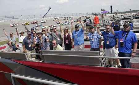 Dealers from the three McConkey Group auctions and their guests enjoyed an inside look at the Geico 500 at Talladega Superspeedway .