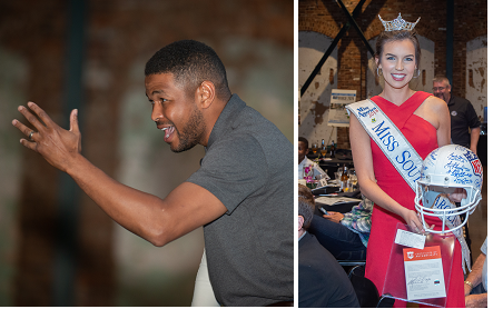 Carolina Auto Auction's 2nd Annual Legacy Dinner included (left) special guest Inky Johnson, fomer University of Tennessee defensive back and motivational speaker. (right) Miss South Carolina shows off an NFL MVP helmet signed by most of the Super Bowl MVPs in history, one of the items auctioned at the event.