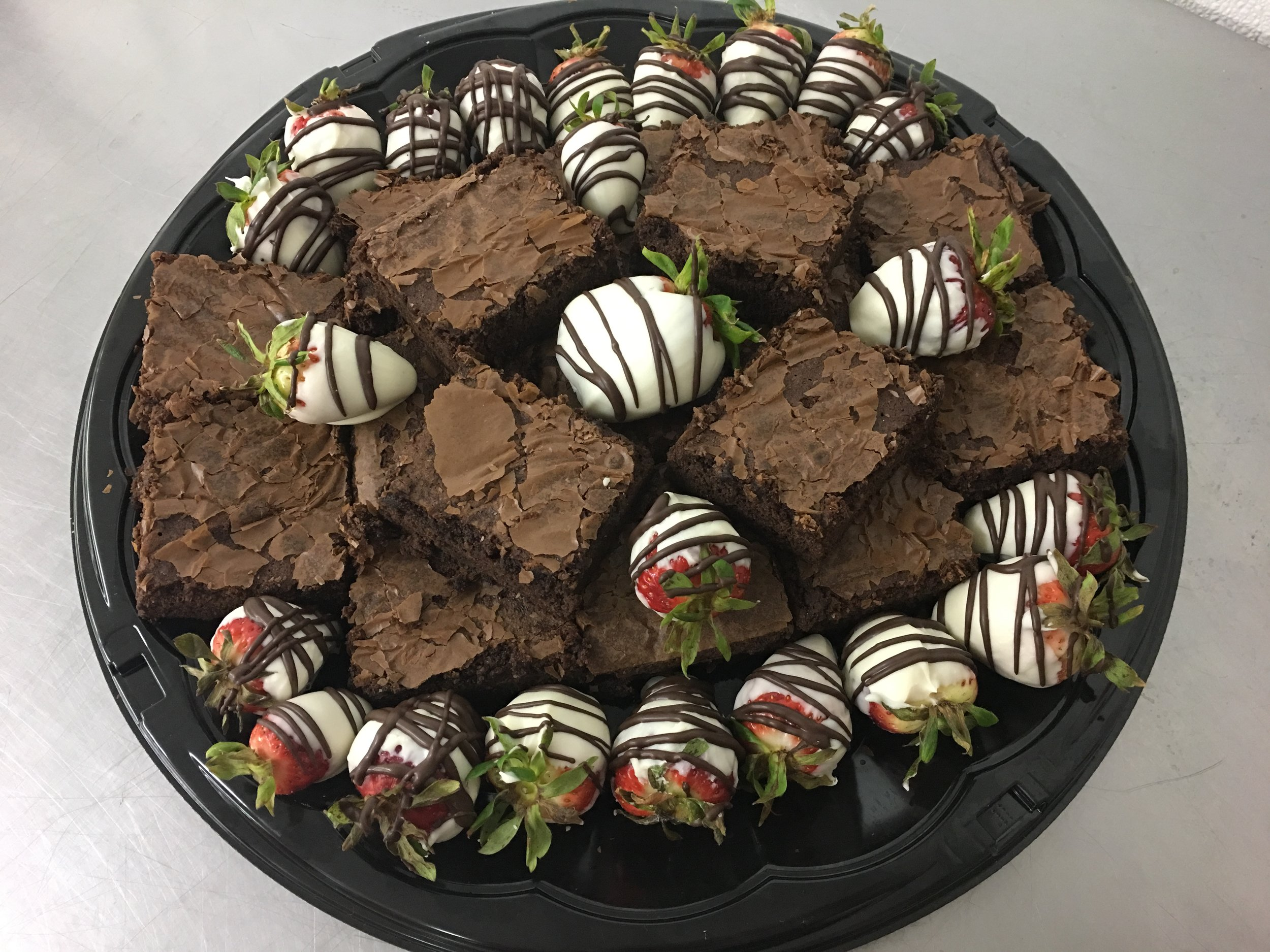 chocolate covered strawberries & brownie platter.JPG