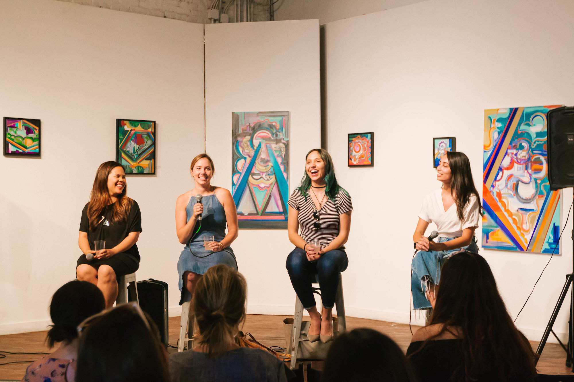 Intimate panel event featuring three female business owners | image by Lee Behrend