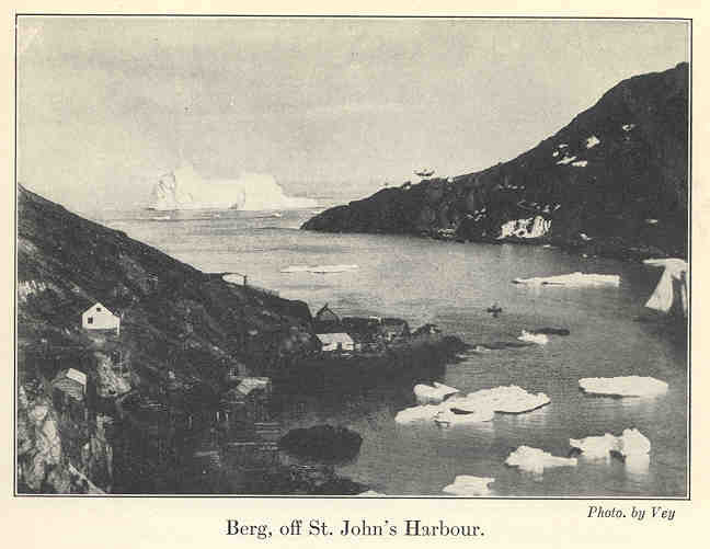 Icebergs making their way through The Narrows . Credit Vey, source Vikings of the Ice : Being the Log of a Tenderfoot on the Great Newfoundland Seal Hunt by George Allan England.  Public Domain Licence