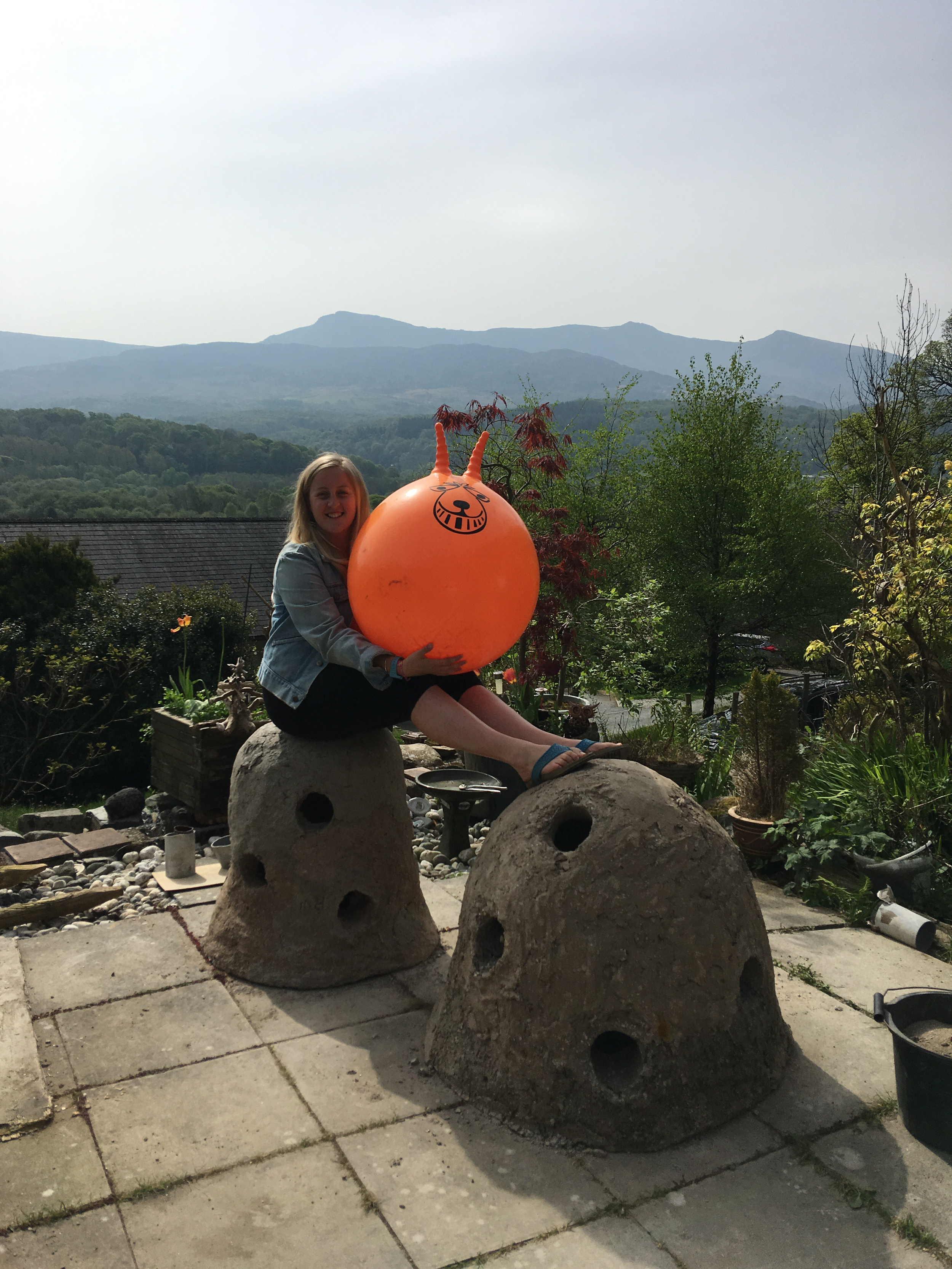 Kath with the Fish Hives (and the space hopper that proved crucial to their design!). Credit: Kath Whittey (with permission)