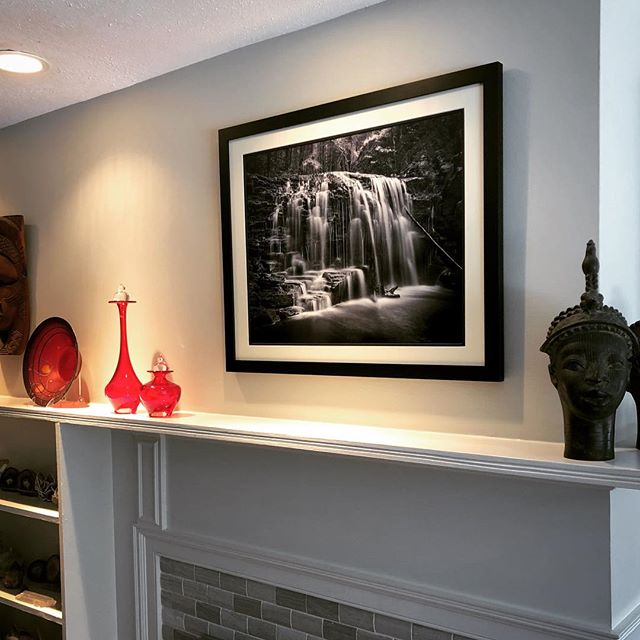 """So excited to finally see my latest custom print of """"Margaretville Falls"""" in its new home! Beautiful framing by @wholesaleframeco Thank you for your purchase and support @amyellensampson ... P.S. she's also a great landscape designer if anyone is looking..."""