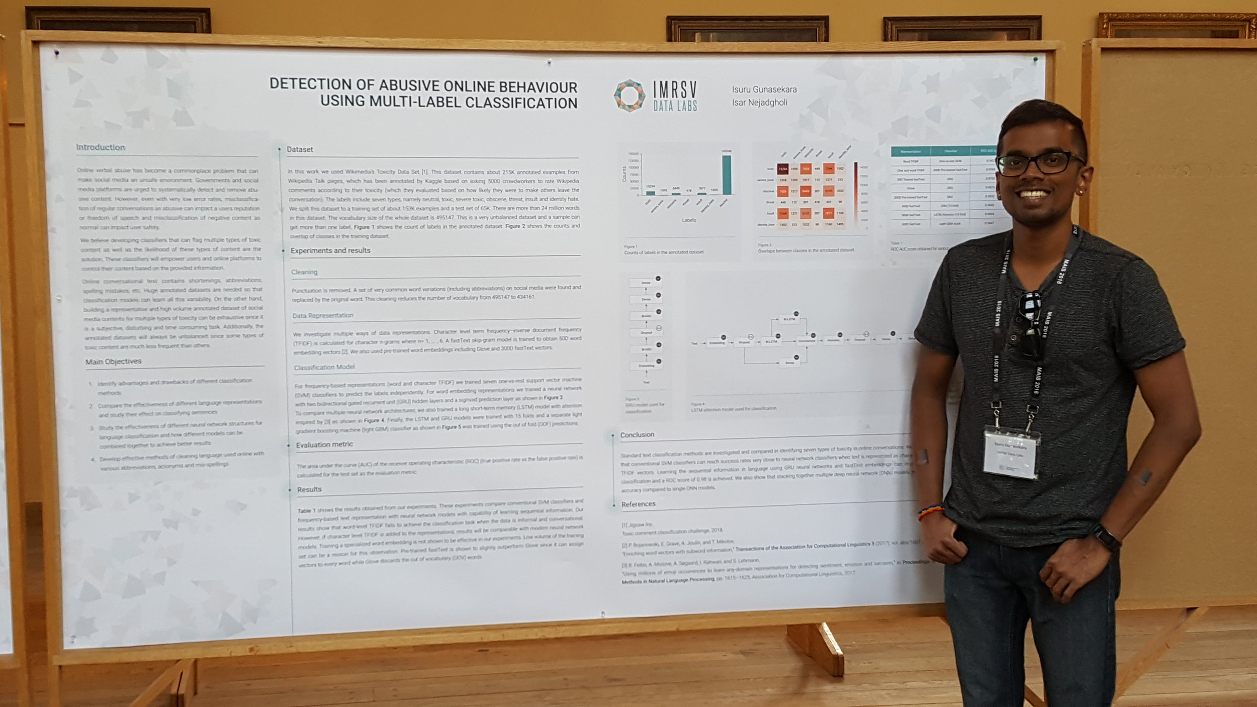 Isuru presenting  Detection of Abusive Online Behaviour using Multi-Label Classification  on the second largest poster board at the Montreal AI Symposium