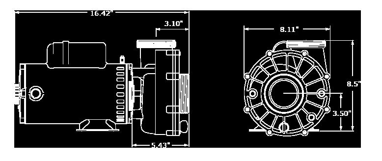 Veuillez noter que les dimensions peuvent légèrement varier en fonction de la sélection des composantes. Nous avons illustré ici la plus grande configuration de la pompe XP3.