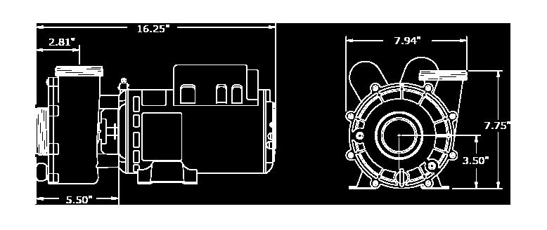 Veuillez noter que les dimensions peuvent légèrement varier en fonction de la sélection des composantes. Nous avons illustré ici la plus grande configuration de la pompe XP2.