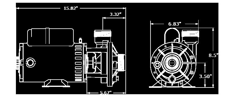 Veuillez noter que les dimensions peuvent légèrement varier en fonction de la sélection des composantes. Nous avons illustré ici la plus grande configuration de la pompe FMHP.