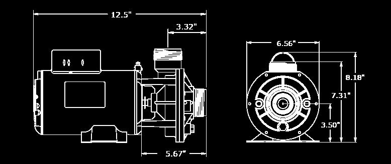 Veuillez noter que les dimensions peuvent légèrement varier en fonction de la sélection des composantes. Nous avons illustré ici la plus grande configuration de la pompe CMCP.