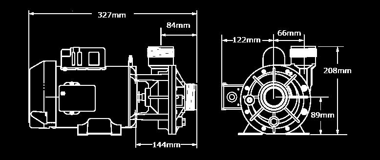 Veuillez noter que les dimensions peuvent légèrement varier en fonction de la sélection des composantes. Nous avons illustré ici la plus grande configuration de la pompe CMHP ce.