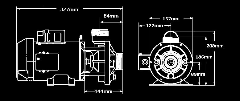 Veuillez noter que les dimensions peuvent légèrement varier en fonction de la sélection des composantes. Nous avons illustré ici la plus grande configuration de la pompe CMCP ce.