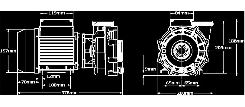 Veuillez noter que les dimensions peuvent légèrement varier en fonction de la sélection des composantes. Nous avons illustré ici la plus grande configuration de la pompe XP2e ce (1 vitesse)