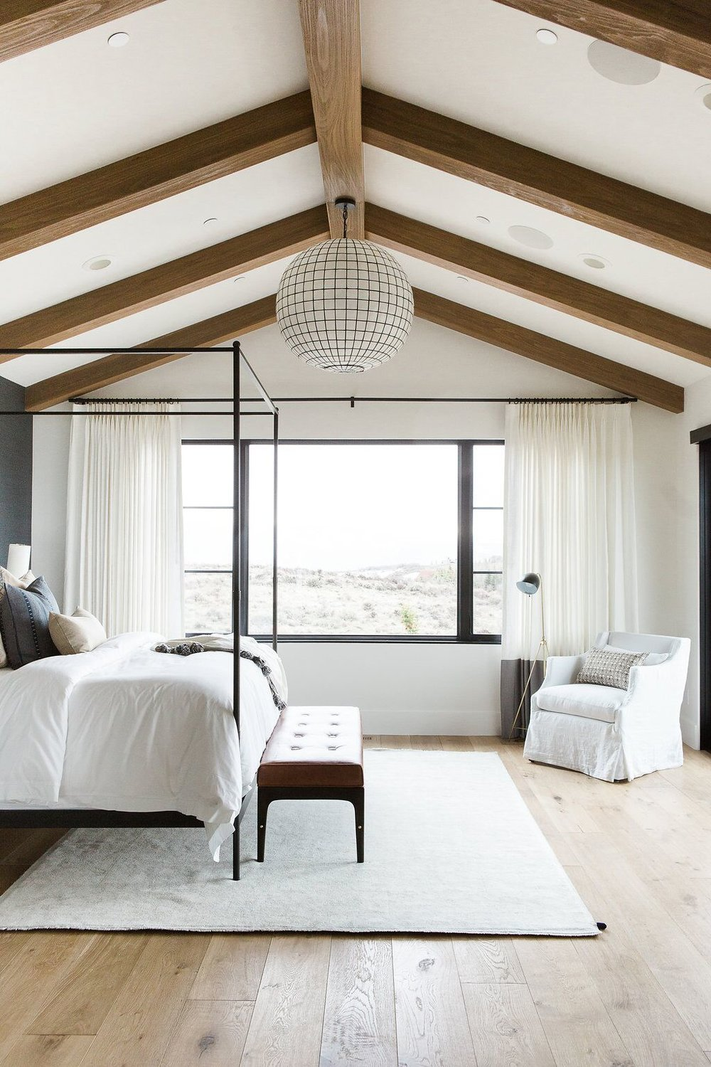 Isn't this  StudioMcGee  bedroom amazing!  I love that leather bench with the white and feminine rug/bedding.  And those floors!!!