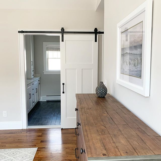 I love how these #barndoors came out in my clients master bedroom. There is a matching one to the left for the walk in closet too!  Design and 📷 by @christieadamsdesign - - #modernfarmhousebedroom #smmakelifebeautiful #bergenmagazine