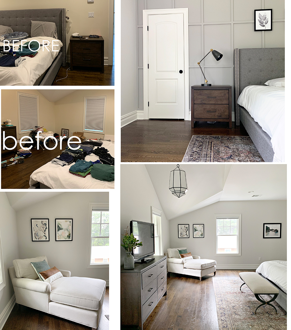 Master Bedroom - I had a board and batten accent wall added behind the bed to totally transform this space. We kept the dresser but changed the paint color, added art on the wall, a rug, light fixture, chaise and bench to transform this space