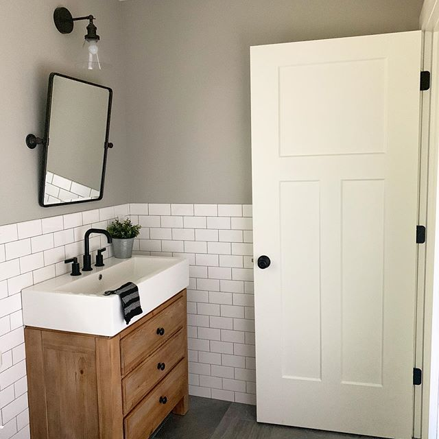 Happy Thursday! Sharing a view from this almost completed bathroom that I love so much! Black + white + wood = ♥️ - - Design and 📷 by @christieadamsdesign