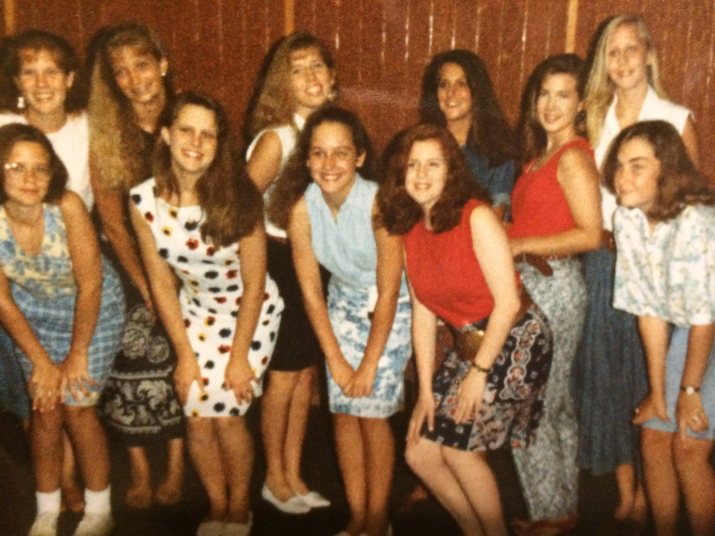 My friends & I during the summer of my Freshman year. That's me in the back row with the white shirt and black skirt. :-)
