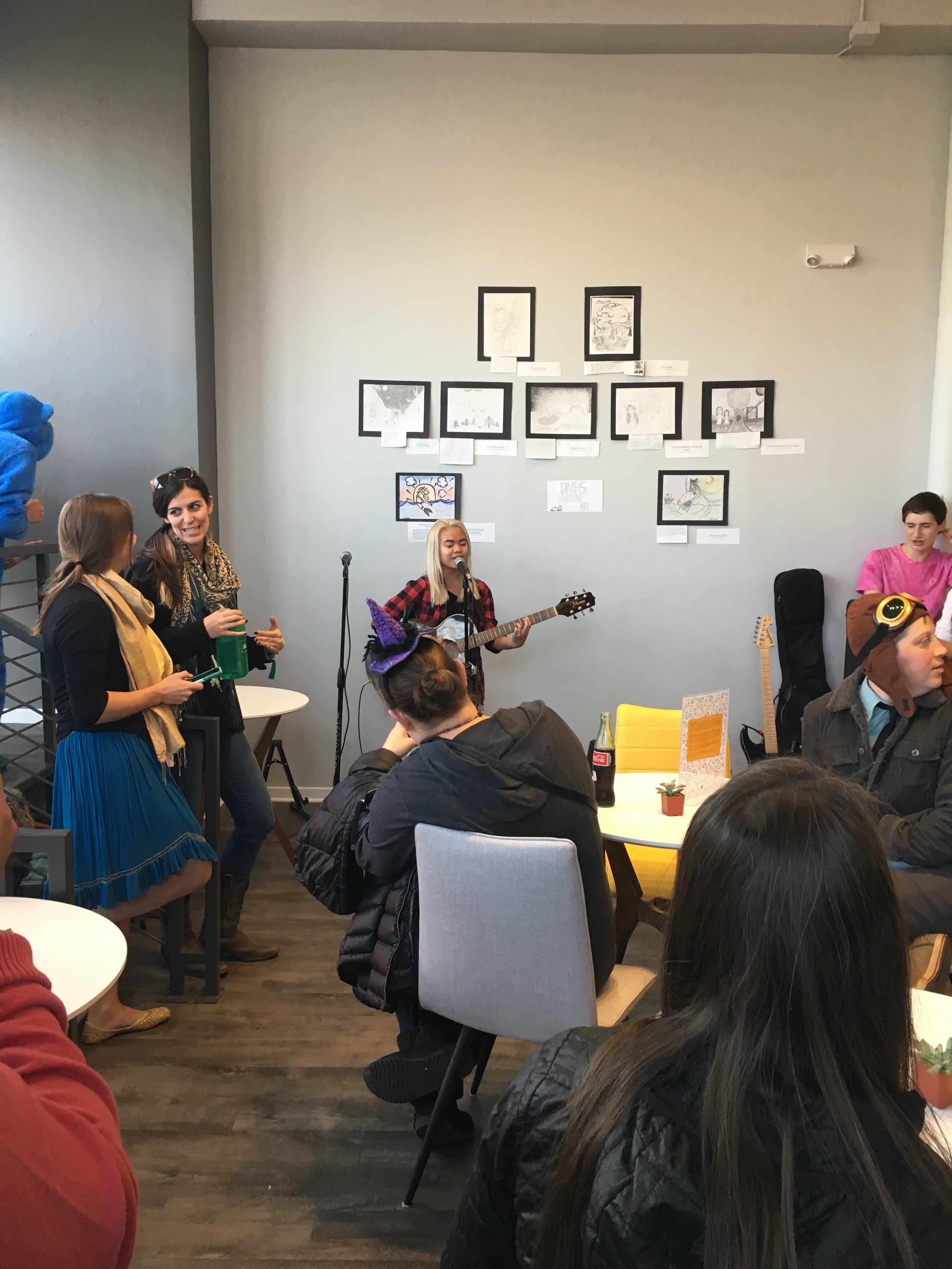 Students perform at the Grand Opening