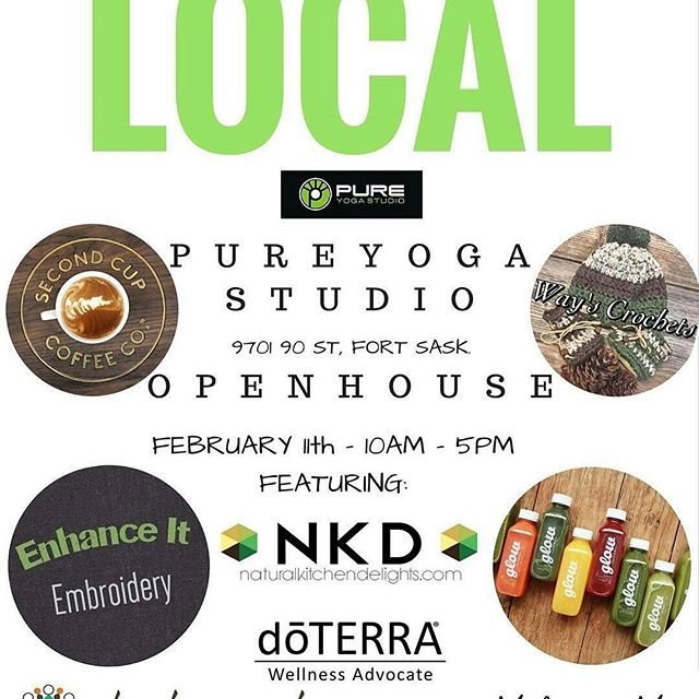 Make sure to stop by @pure_yogastudio this Saturday!  Happy Birthday 🎊🎉😃⭐ @Regrann from @pure_yogastudio -  Join us Saturday February 11th for our open house 2nd Birthday Celebration! Trade Show is from 10am- 5pm. Drop by to check it out. @ft2ndcup @wayscrochets @glowjuicery @shedoescreate @feathersandfacets @doterra @malaandme @natural_kitchen_delights @livehappywater  #pureyogastudio #tradeshow #coffee #treats #juice #chocolate #jewlery #crotchet #jewlery #indiantapestry #malas #clothing #essentailoils #yoga #h20 #hotyoga #liveyoga #fortsaskatchewan #gottalovefortsask #shoplocal #localbuisness #supportlocal #love - #regrann