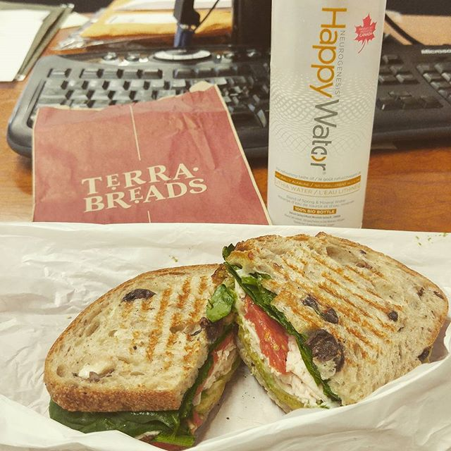 @terrabreads has us covered for #happyfriday.  Smoked Turkey + Asiago, yum! 😋 Don't forget to pick up Happy Water with your lunch or snack a Terra Breads Mt. Pleasant, Olympic Village, and Kits. #omnomnom
