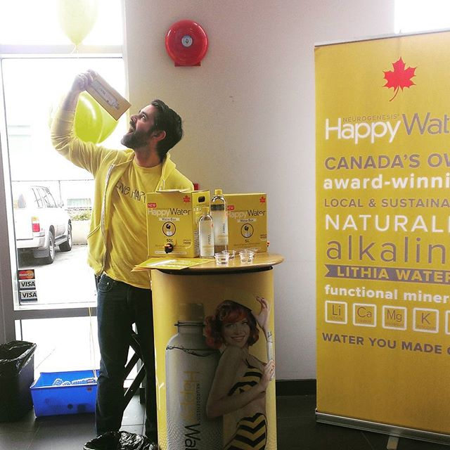 Make sure you come by Gold Gym Langley!  We are sampling Happy Water, to celebrate the reopening of the juice bar!  Yum! #livehappy