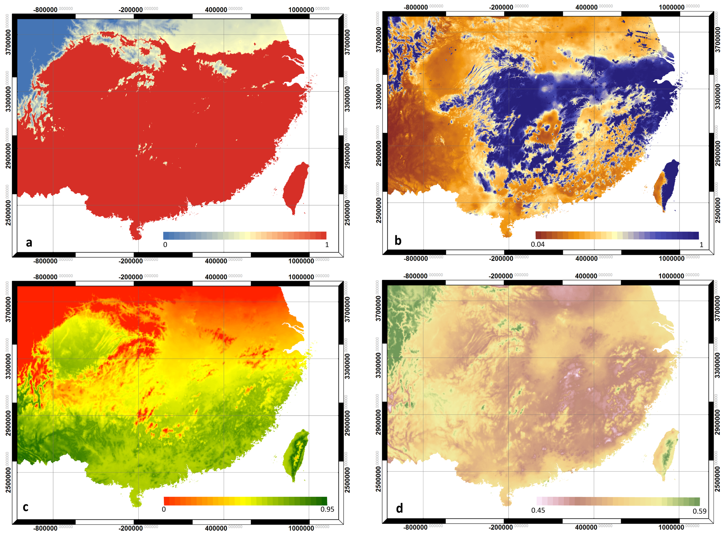 Figure 1.  Spatial variation of climatic modifiers produced by the 3-PG model. All modifiers were scaled between zero and one, where one represents the optimum condition for Chinese fir growth and zero indicates growth shutdown for at least one month; ( a ) Frost; ( b ) soil water; ( c ) temperature; ( d ) evaporative demand (VPD).