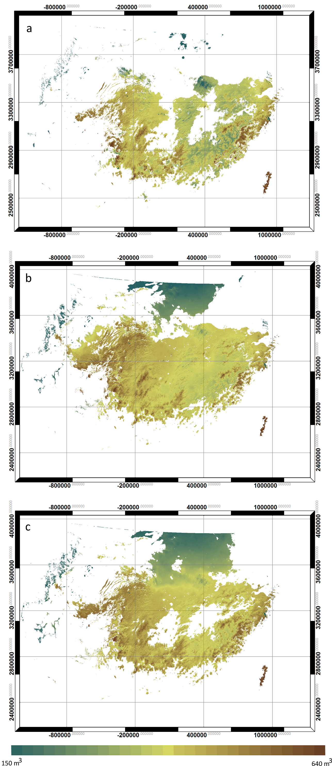 Figure 3.  Stand volume (m3/ha) at age of 20 years, predicted by 3-PG; ( a ) current climate; ( b ) A1B projection; ( c ) A2 projection.