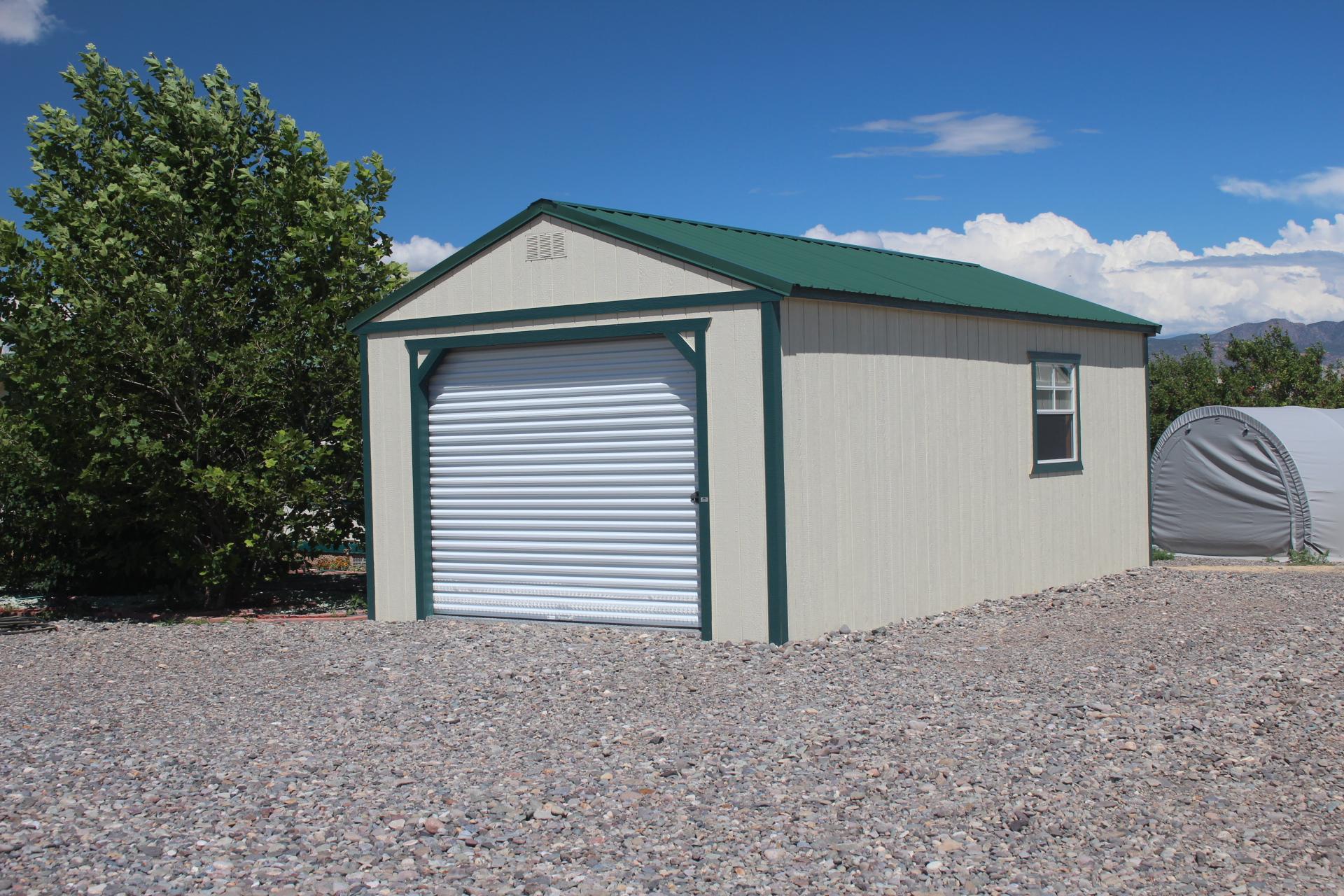 Portable Garage Shed on Gravel Foundation