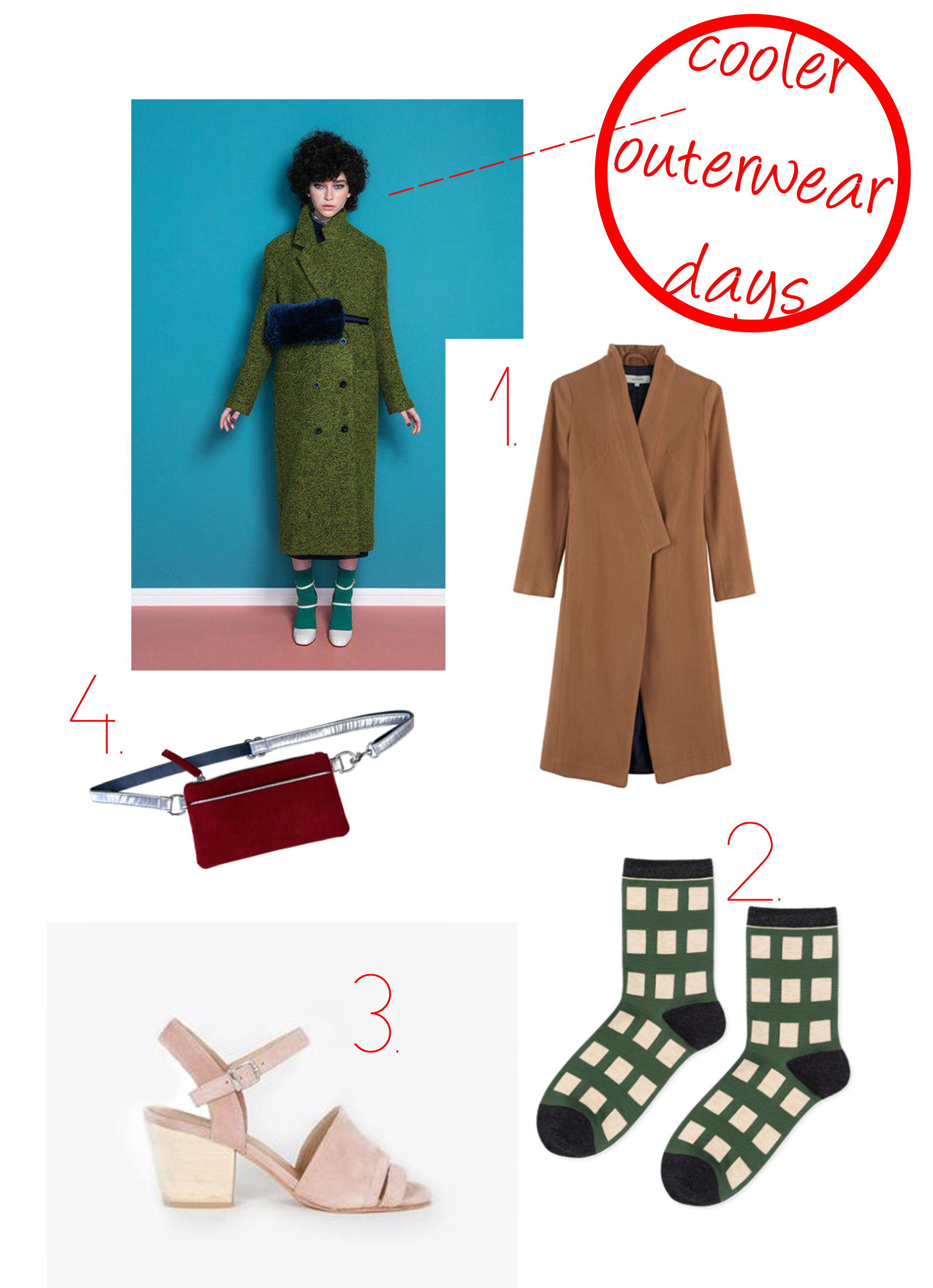 1. Lover Camel Obi Coat  2. Hansel from Basel Square Pegs crew socks 3. Creatures of Comfort Monica Suede Sandal  4. Hipster for Sisters Mulberry Red Pocket Bum Bag