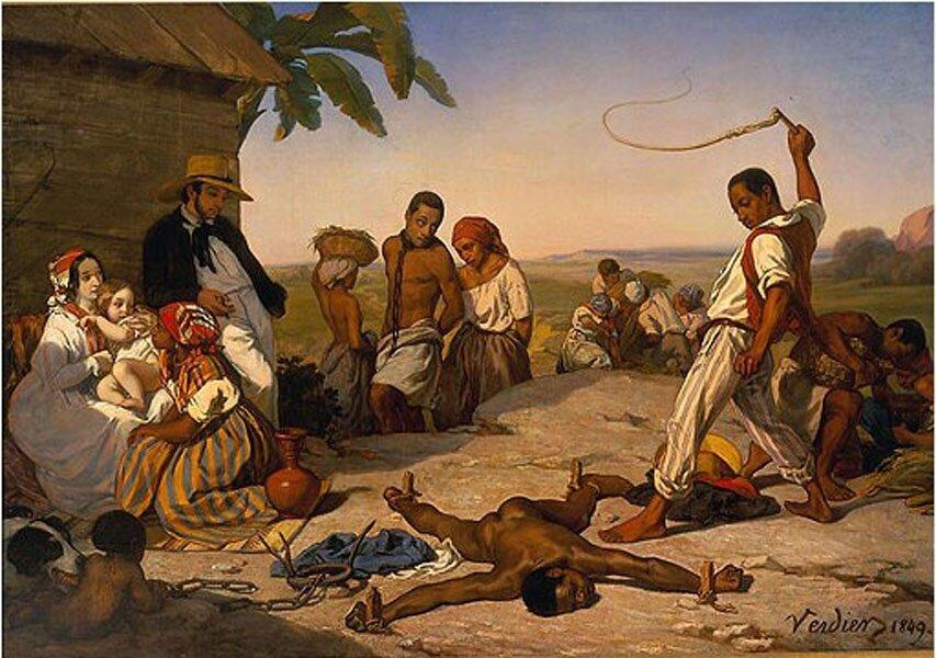 """LE TABLEAU DE MARCEL VERDIER : """"Le châtiment des quatre piquets dans les colonies"""" (1843). Wikipedia."""