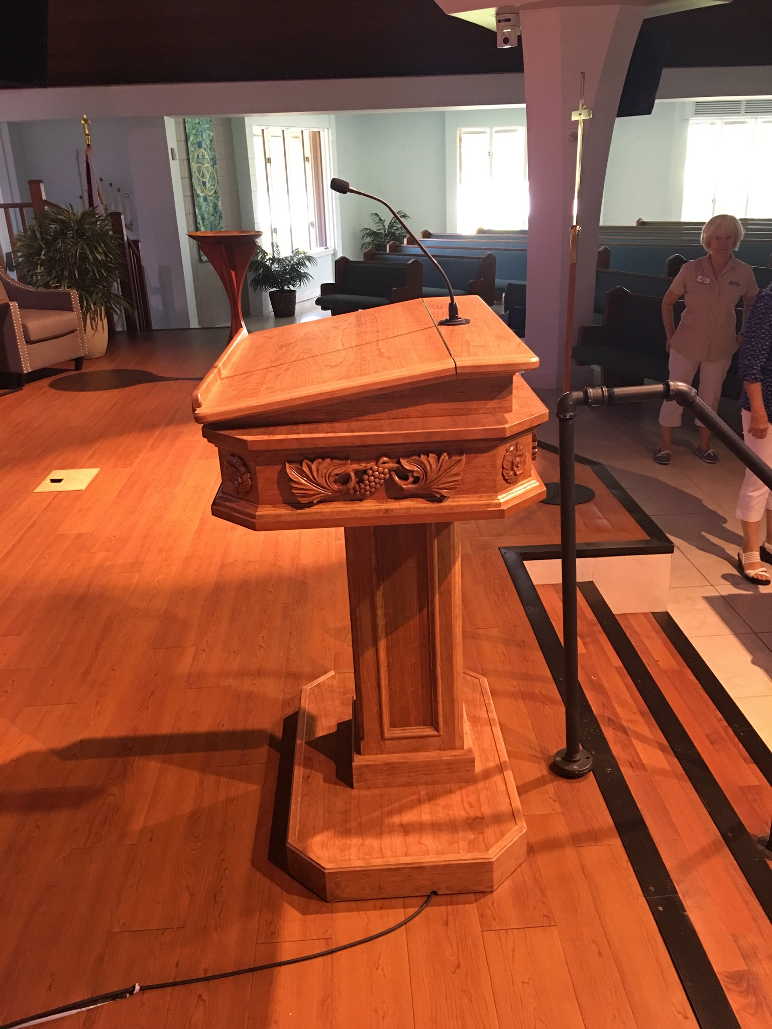 Side view of the new pulpit