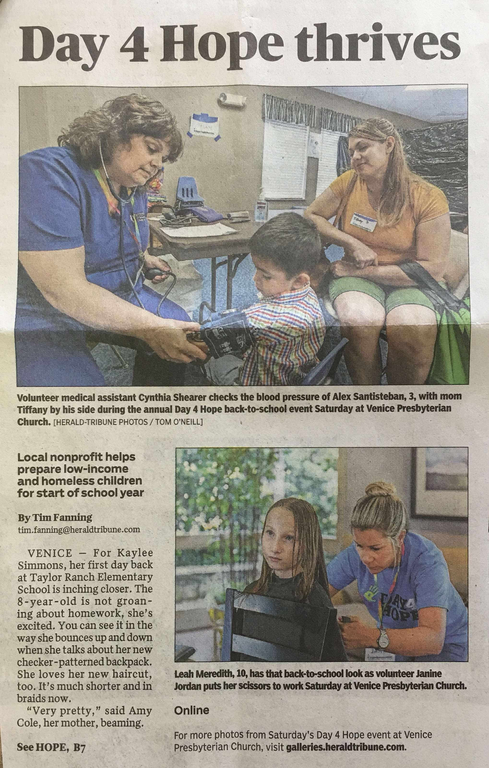 Article in the Herald Tribune, 2018