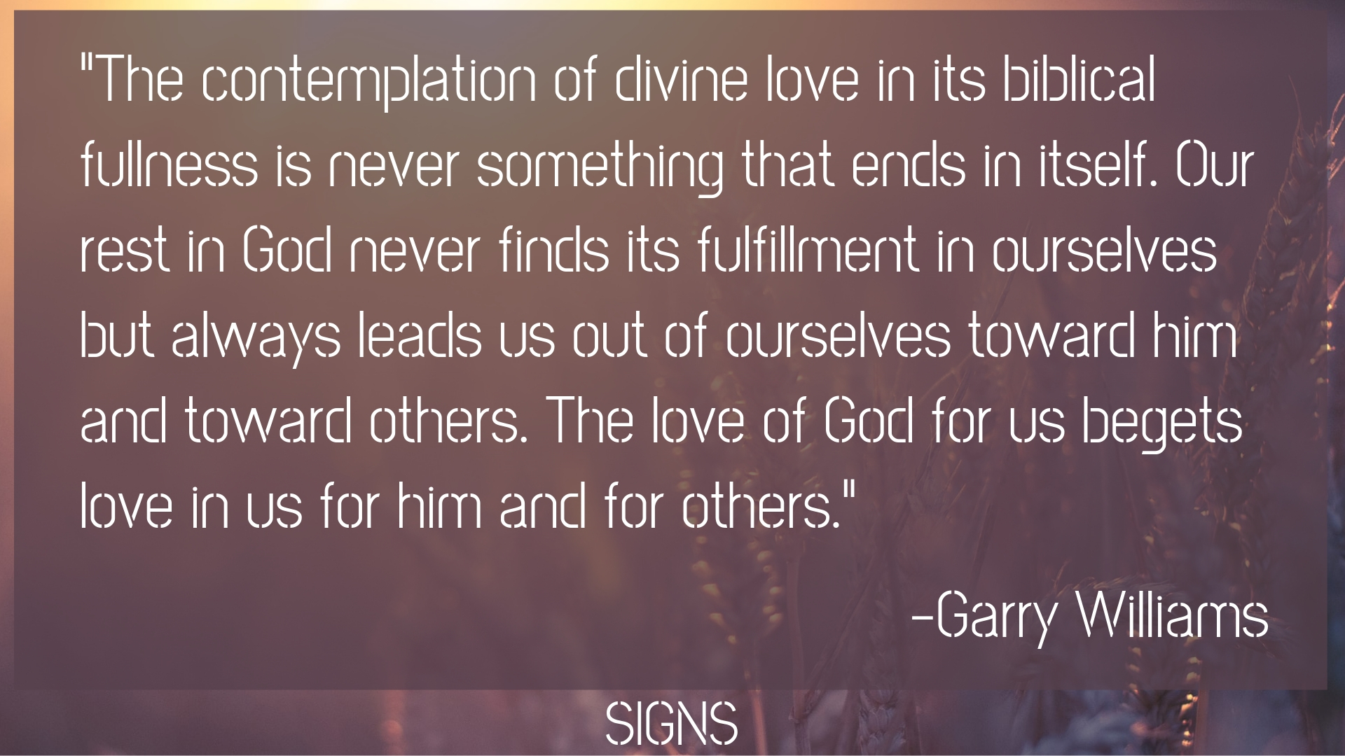 SIGNS - God So Loved — Capshaw