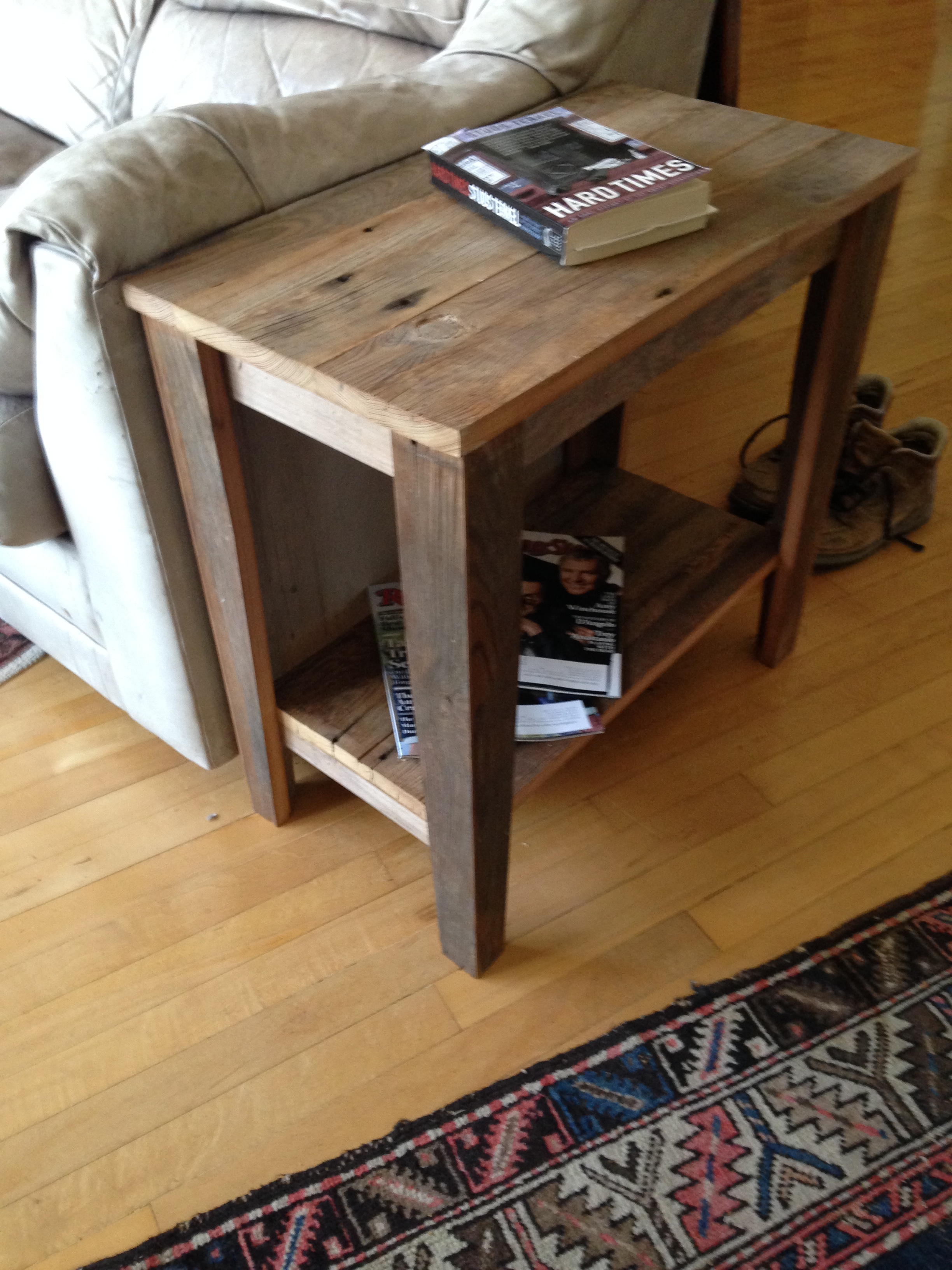 barn wood side table