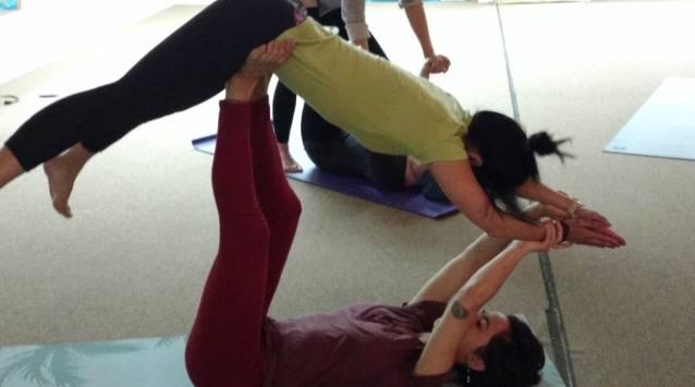 Acro Yoga Class, Adrienne basing folding leaf pose