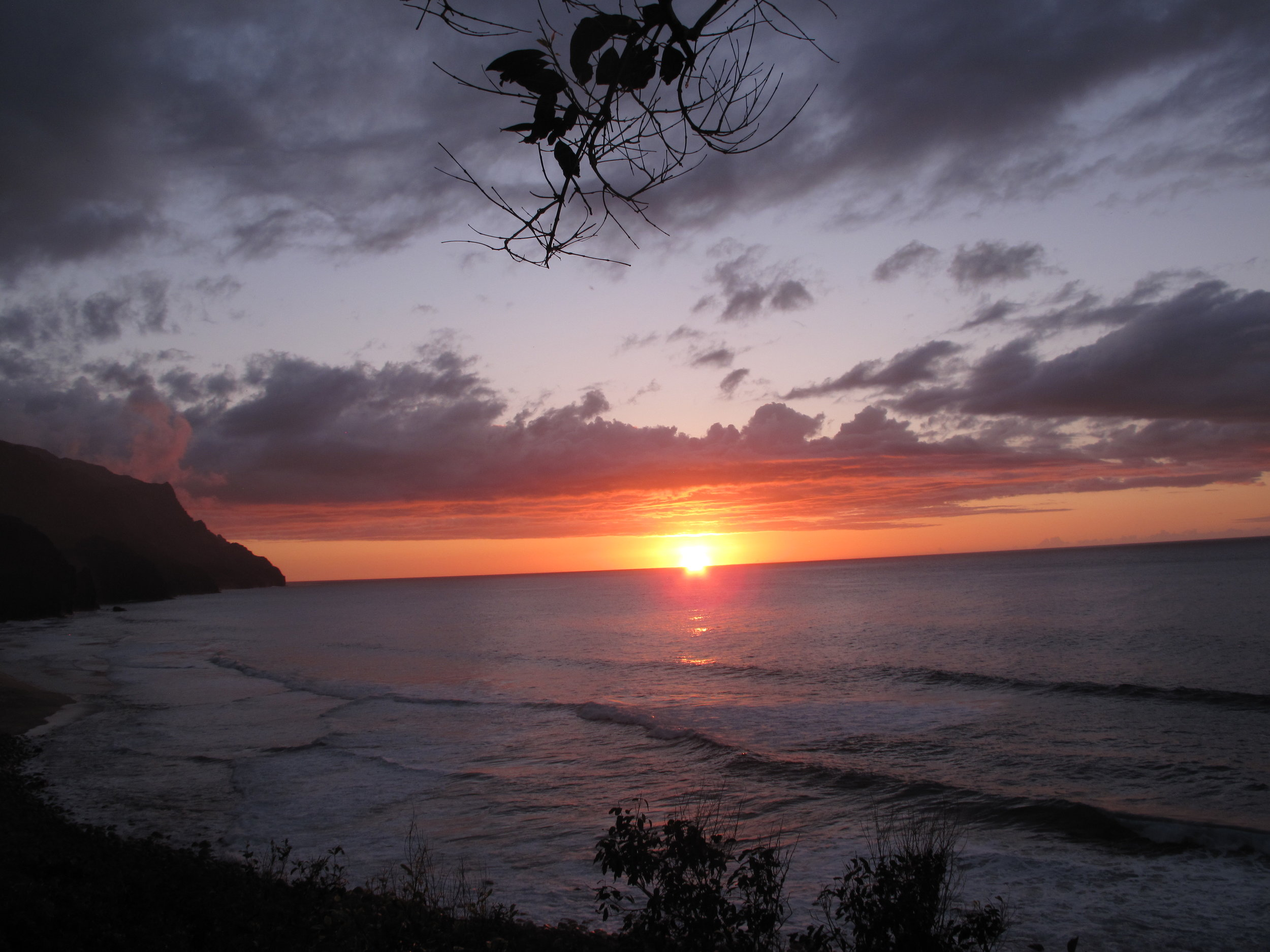 sunset on Kalalau, a 12 mile hike to brings you to the north shore of Kaua'i, where I studied at the Pacific Center for Awareness & Bodywork to finish my massage training.