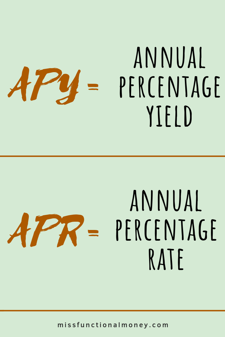 APY is a solid indicator of how much your account could earn — think of it as the account's rate of return. | MissFunctional Money #savemoney #earnmoney #confusingmoneyterms how to save money