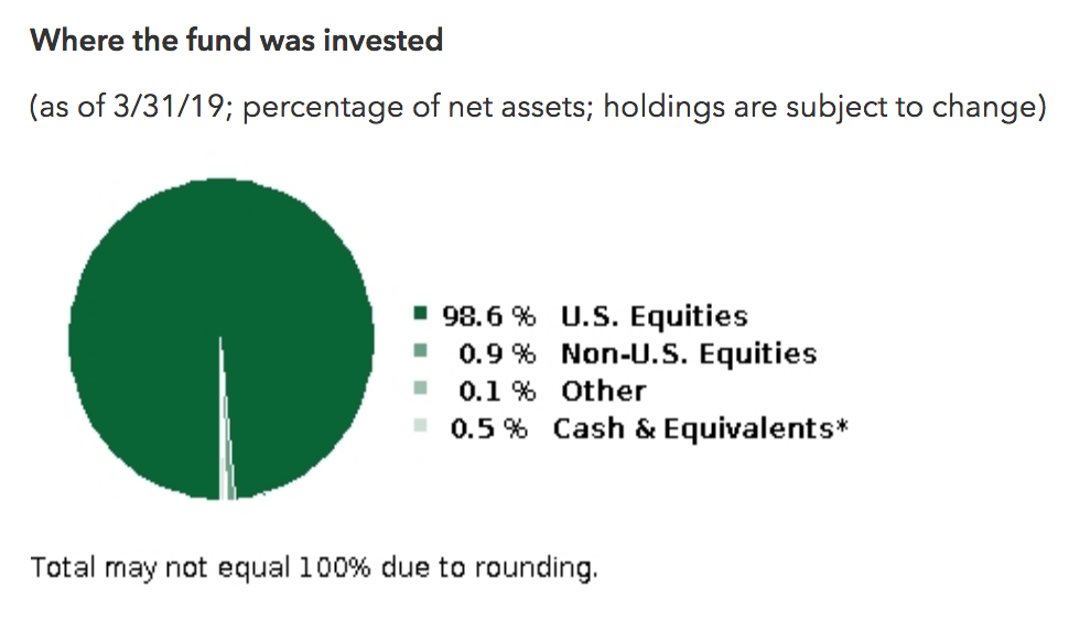 98% of the fund goes to American stock.