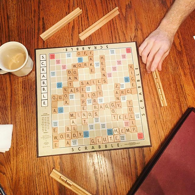 """Y'all should've seen round 3, where we allowed swear words, proper nouns and """"this is a reach, but..."""" words. #hurricanedorian #scrabble"""