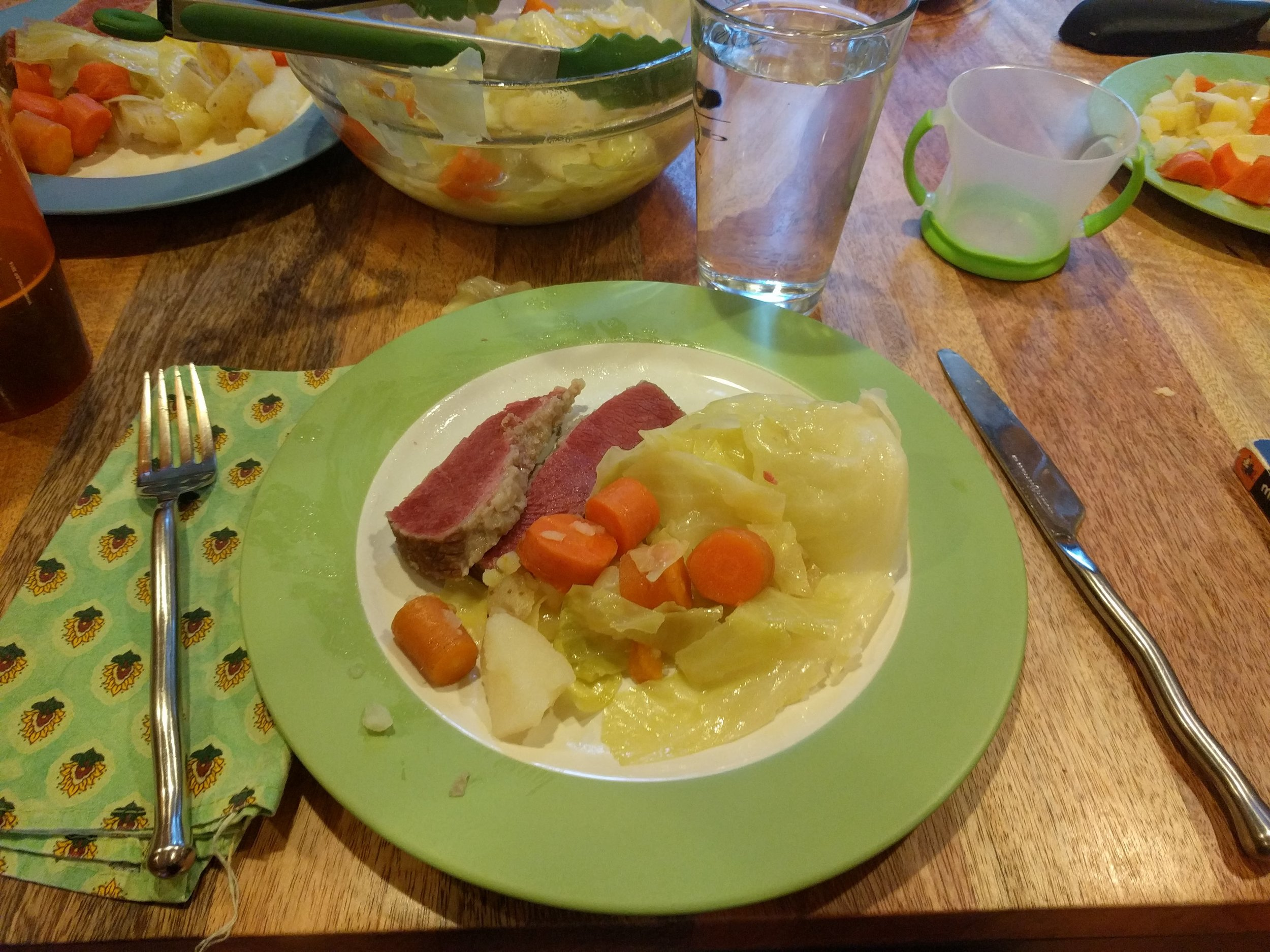 Corned beef, cabbage, potatoes, and carrots!