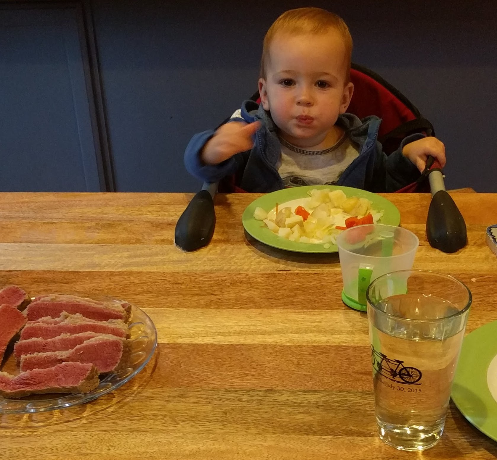 You don't want to get between this kid and his dinner. Seriously.