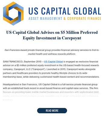 US Capital Advises on $5 Million Preferred Equity Investment in Carepoynt