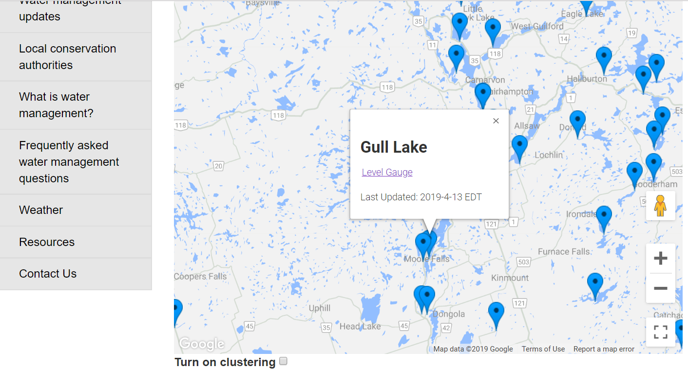 The next image you should see is the map of the Gull River. The tab for Gull Lake is at the south end of the lake and sits almost behind the Moore Lake tab. You can click on the PLUS sign to enlarge the map a bit to get better access to the Gull Lake tab. When you hover over the tabs, the information pops up. Click on the tab so that the information stays up, and then click on Level Gauge.