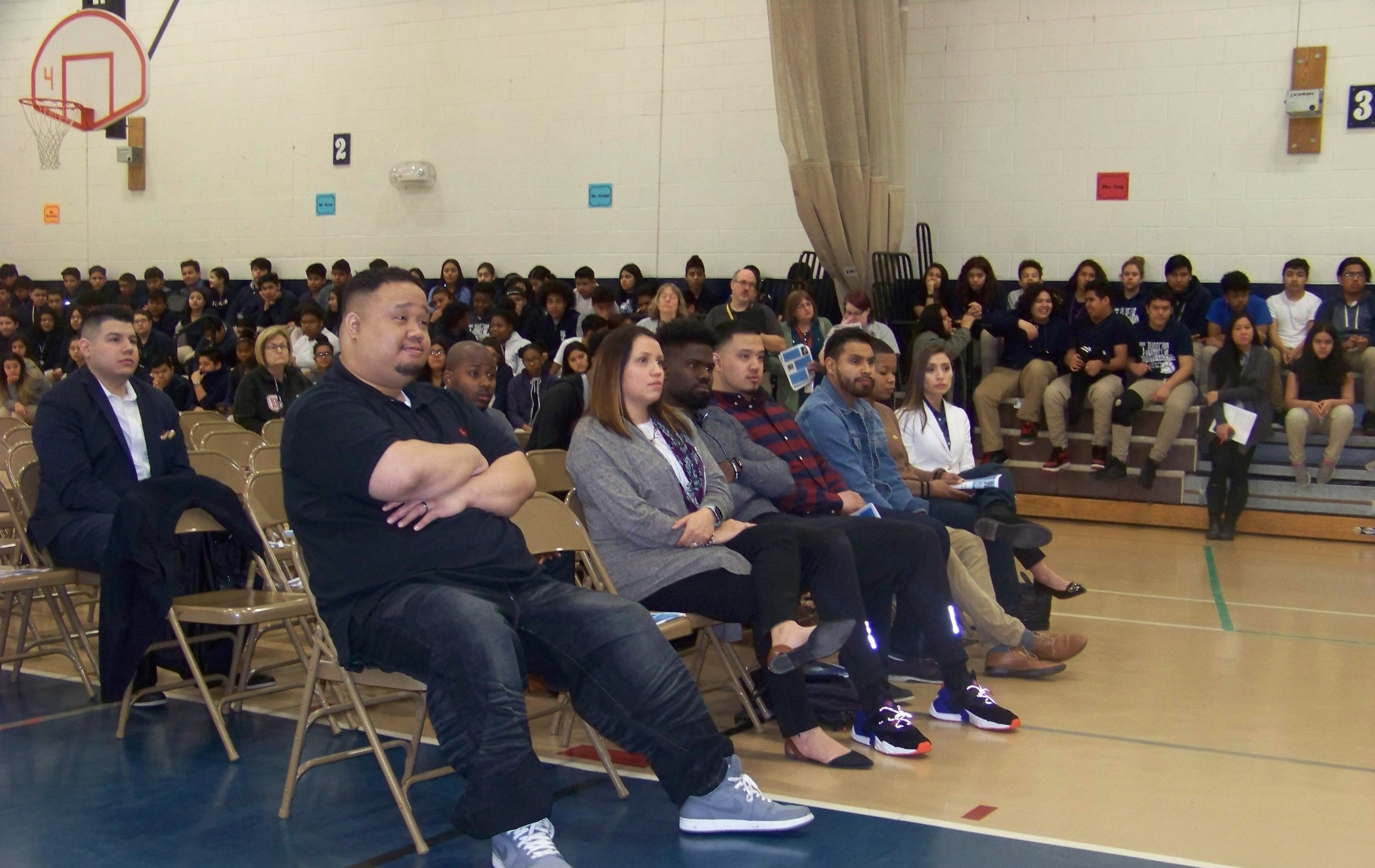 Waukegan, IL - (Miguel Juarez Middle School's Inaugural Beyond These Walls Career Day Event)200+ 8th Grade Students, 12 Young Professional Alumni, in addition to 15+ School Staff, Engaged in a Keynote Address Emphasizing The Significance of Social Entrepreneurship, Innovation, Leadership and Community.
