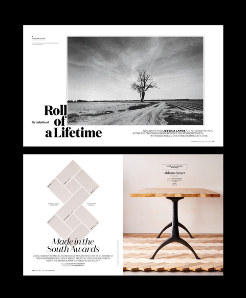 """Here are a few more feature openers that round out the December/January issue. """"Roll of a Lifetime"""" photographed by actress  Jessica Lange  """"Made in the South Awards"""" photographed by  Allison Gootee"""