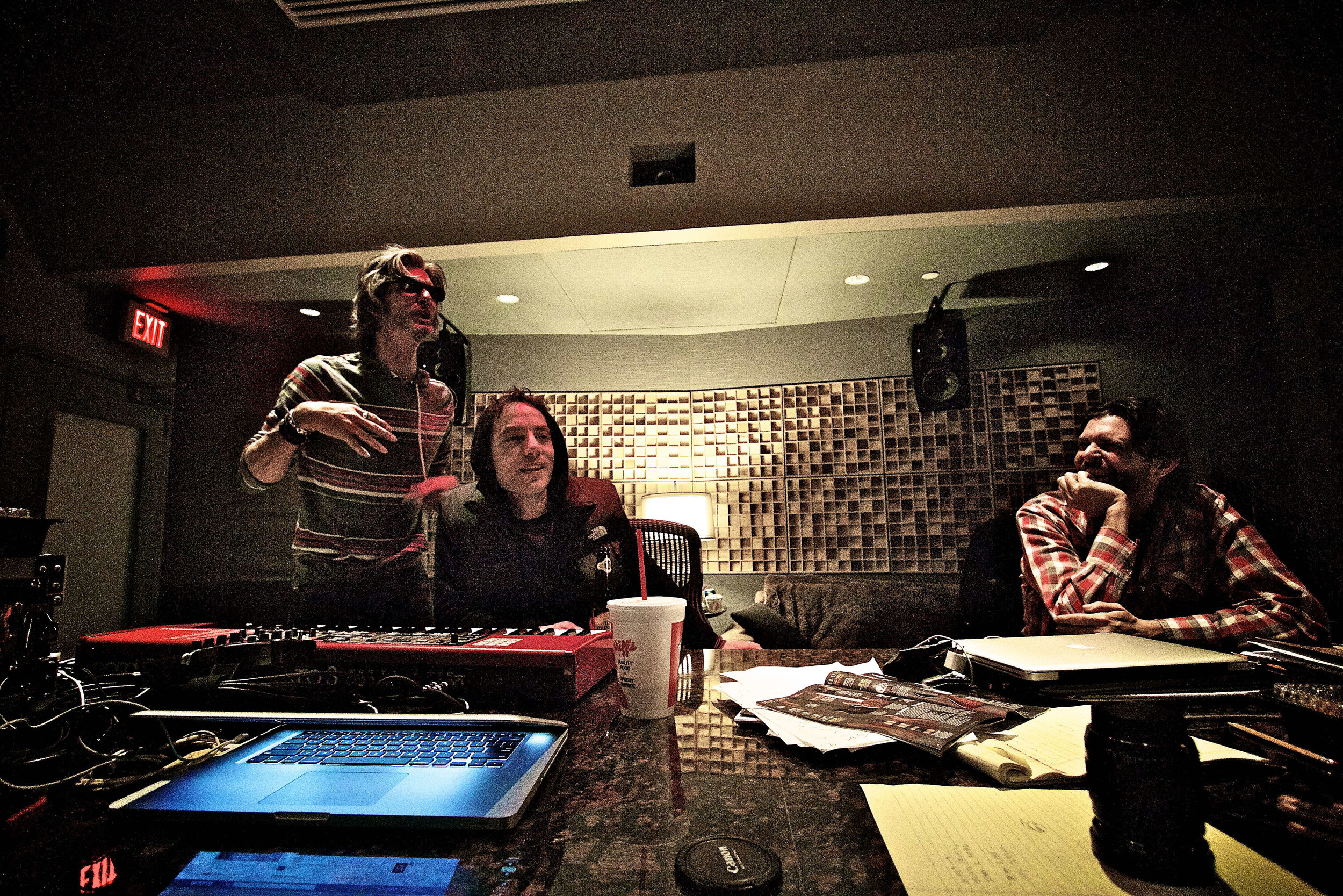 """In session with The Animalnauts """"Charlie Sexton, Jakob Dylan, and Will Sexton at Blade Studios"""