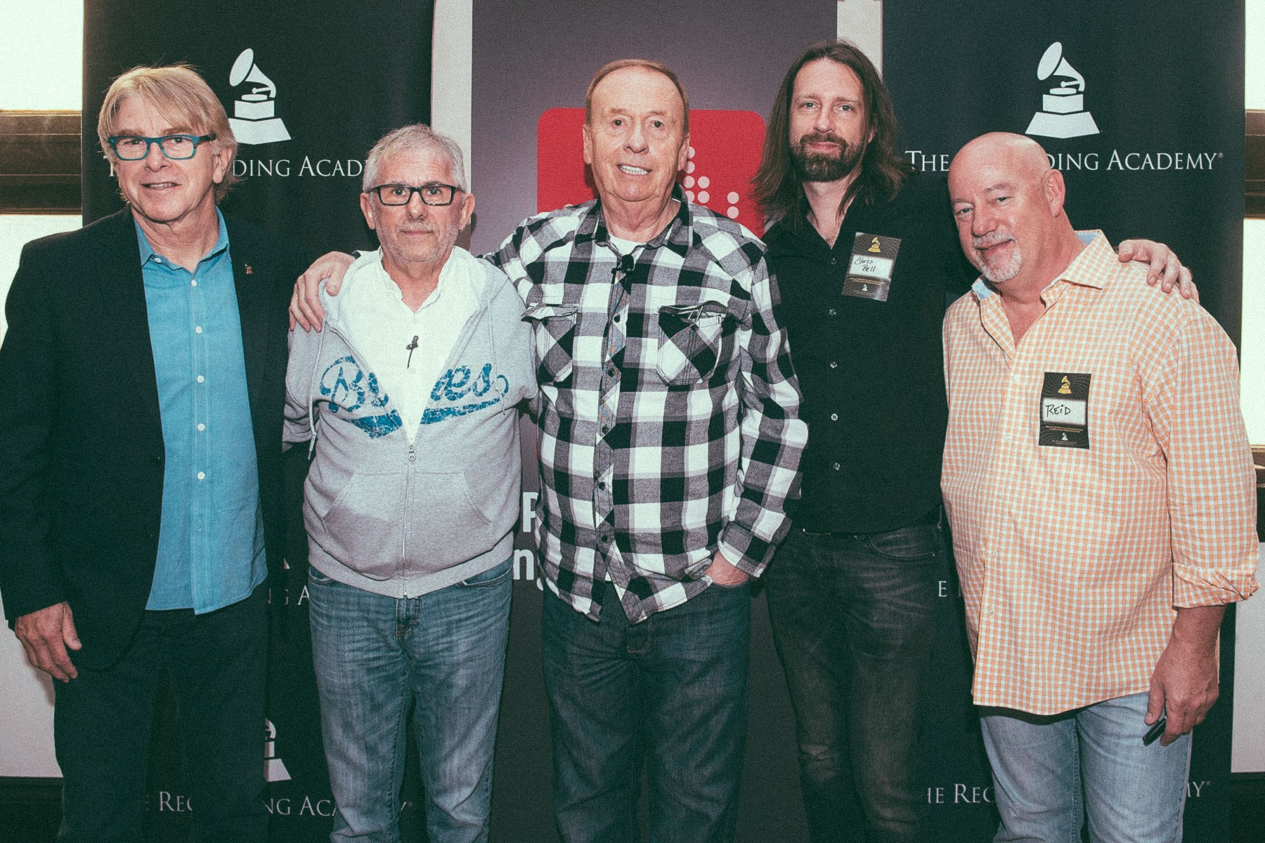 P&E Event with Elliot Scheiner and Goeff Emerick at Esplanade Studios in New Orleans. (Jon Hornyak, Elliot Scheiner, Goeff Emerick, Chris Bell, and Reid Wick)