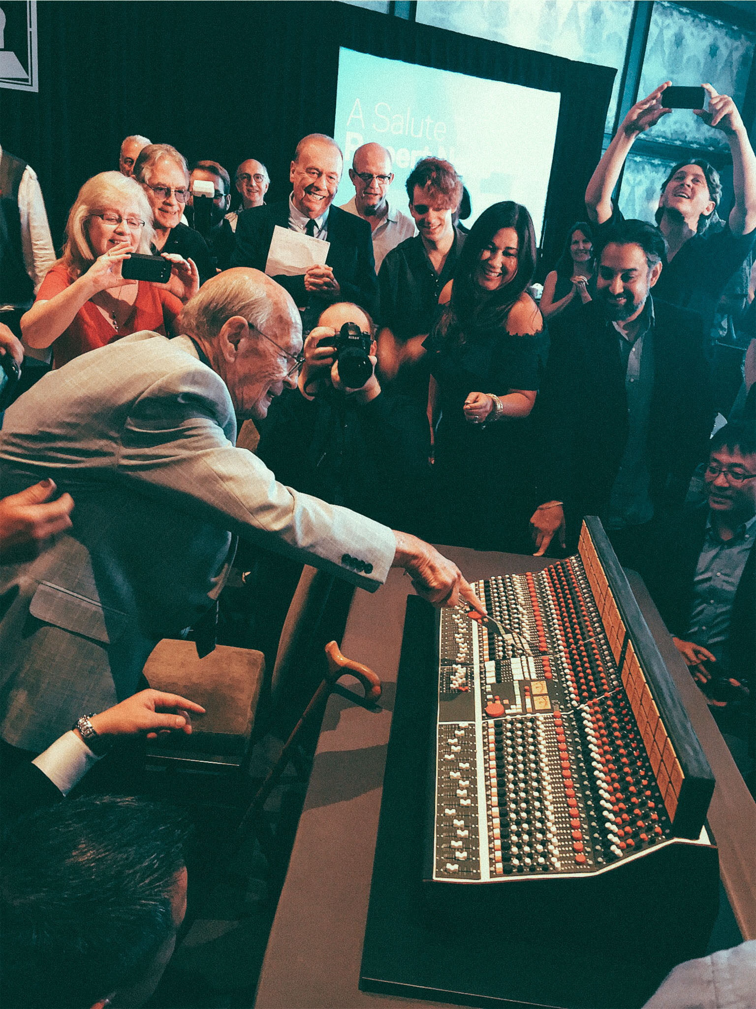 Celebrating Rupert Neve's 91st Birthday with The Recording Academy Texas Chapter (Goeff Emerick in Background) Austin, TX