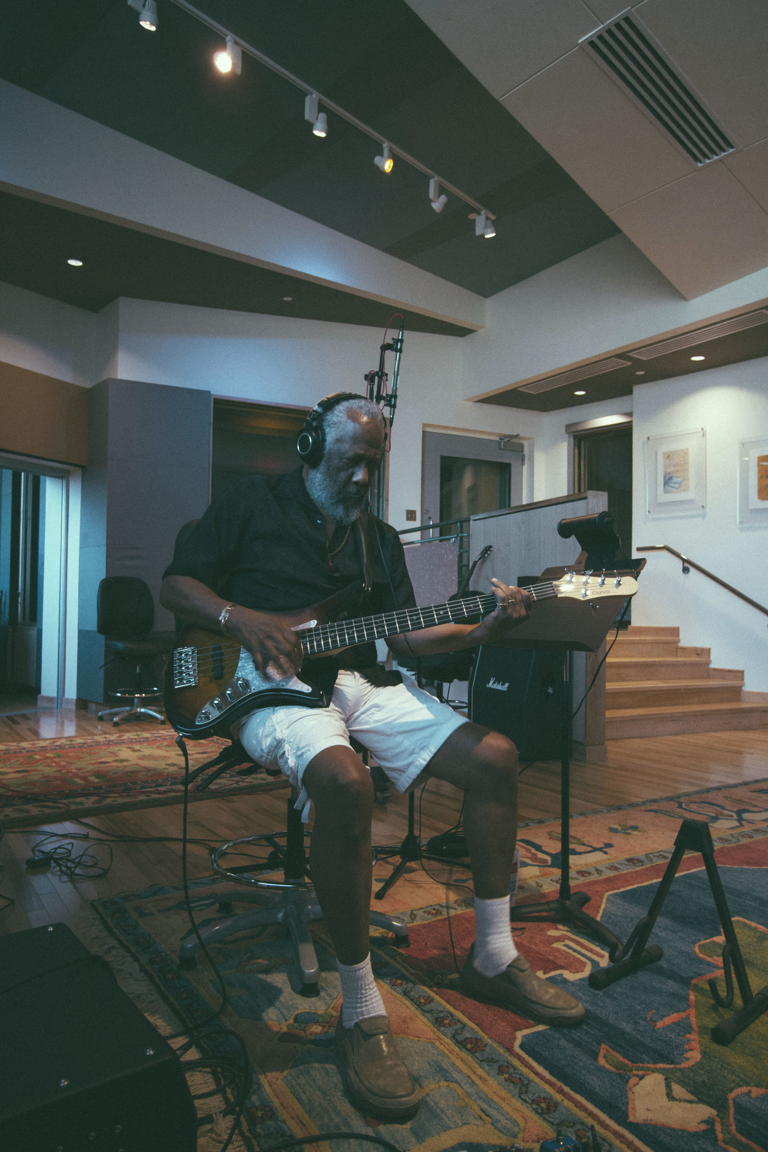 In session tracking Chuck Rainey at Blade Studios